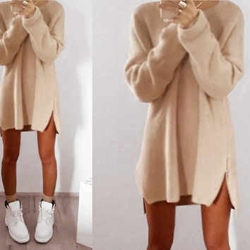 Sweater Casual Zippers One Piece Dress [9378270020]