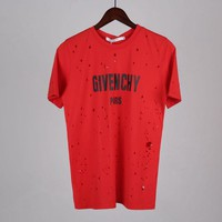 Givenchy Women Ripped Fashion Short Sleeve Shirt Top Tee-1