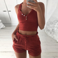 Sexy Casual Solid Button Drawstring Strap Vest Shorts Set Two-Piece