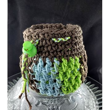 Small Forest Gnome Dice Bag   Blue, Green and Brown   Drawstring Bag