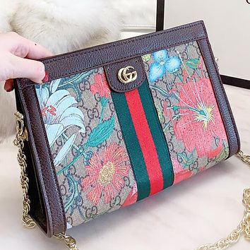 GUCCI New fashion stripe floral more letter leather round shoulder bag crossbody bag