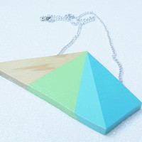 Hand Painted Geometric Wood Necklace - Teal Blue Mint Green Turquoise - Color Blocking Color Block Color Blocked - Minimalist Geometric