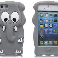 Leegoal(TM) Gray Elephant Design 3D Cartoon Soft Silicone Case Cover Fit for iPhone 5 5S With Accessories Sreen Protector,Anti Dust Plug