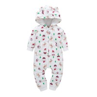 New Born baby Clothes Polar Fleece Christmas Tree+Santa Claus Print Hooded Baby Rompers With Bear Ears Autumn Winter Baby Onesuit
