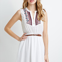 Embroidered Gauze Belted Dress