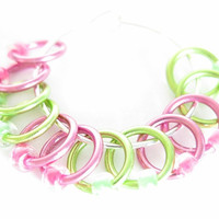 Extra Small Sock stitch markers | Stitch marker for lace | Hand made stitch markers | Knitting tool | pink, green rings and beads | #0529