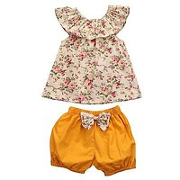 Summer born Baby Girl Clothes Floral Tank Top +bow-knot Shorts 2PCS Outfits Toddler Kids Clothing Set