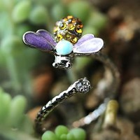 Bee Shape Ring Women's Girl's nature Theme Insect Bug Ring Adjustable Gift Idea