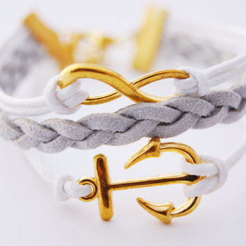 3 Strand White and Grey Infinity Anchor Faux Leather Braid Cord Bracelet (Adjustable Sizing)