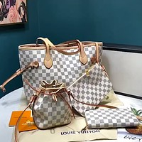 LV Classic Checkerboard Women's Shopping Bag Single Zipper Wallet Four-Piece Set