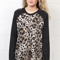 Jungle Fever Contrast Sleeve Knit Sweater {Charcoal}