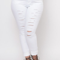 Plus Size Distressed Ripped Skinny Jeans - White