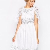 Frock and Frill Embellished Skater Dress With Cape Detail at asos.com