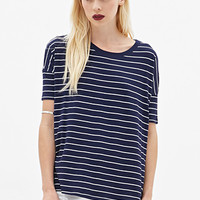 FOREVER 21 Boxy Striped Tee Navy/Cream