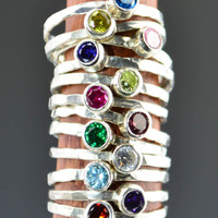 Classic Size Pure Silver Birthstone Rings