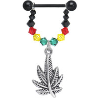 "Handcrafted Black 14 Gauge 5/8"" Rasta Pot Leaf Dangle Nipple Ring 