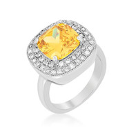 Yellow Bridal Cocktail Ring, size : 09