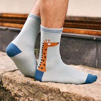 Unisex Giraffe Print Animal Themed Cotton Socks in Blue | DOTOLY