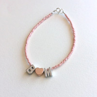 Beaded Capital Letter Bracelet in Silver with Heart Charm