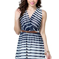 Variegated Stripe Surplice Dress