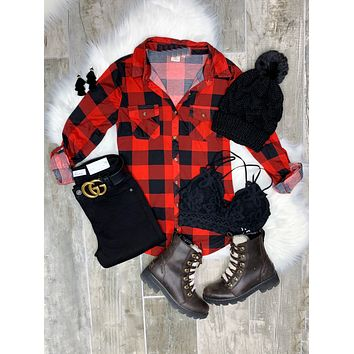 Penny Plaid Flannel Top - Buffalo Red