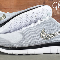 Women's Nike Free 4.0 V5 By Glitter Kicks - Hand Customized With Swarovski Crystal Rhinestones - White/Black