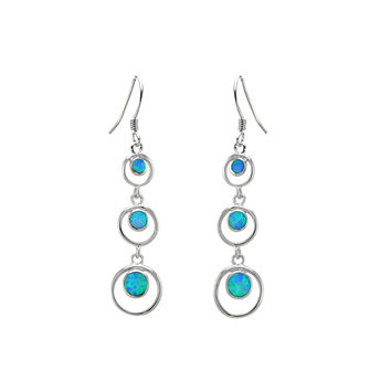 Opal Triple Open Circle Dangle Earrings 925 Sterling Silver 52mm x 11mm