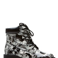Classic Magazine Collage Patent Combat Boots @ Cicihot Boots Catalog:women's winter boots,leather thigh high boots,black platform knee high boots,over the knee boots,Go Go boots,cowgirl boots,gladiator boots,womens dress boots,skirt boots.
