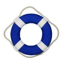 Vibrant Blue Decorative Lifering with White Bands Christmas Ornament 10""