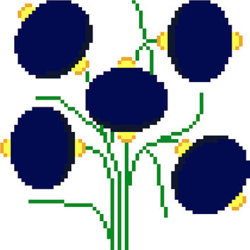 Large lantern shaped flowers. Modern cross stitch design. Contemporary cross stitch pattern. Retro inspired design.