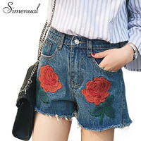 Rose embroidery tassel summer shorts women clothing fashion vintage slim sexy jeans short feminino