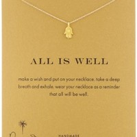 """Dogeared Gold Dipped All Is Well Hamsa Necklace, 16"""""""
