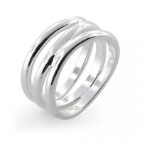 Bling Jewelry Elsa Peretti Wave Three-Row Sterling Silver Ring