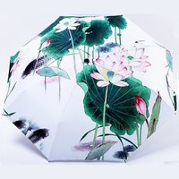 Chinese Style Lotus Flower Fish Pool Sun Parasol Rain Compact Folding Umbrella