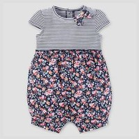 Baby Girls' Stripe/Floral Romper Navy - Just One You™ Made by Carter's® : Target