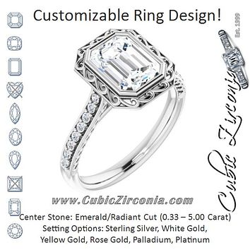 Cubic Zirconia Engagement Ring- The Itzayana (Customizable Cathedral-Bezel Radiant Cut Design featuring Accented Band with Filigree Inlay)