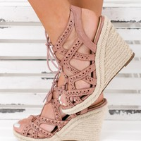 Stand Tall Not Rated Lace Up Wedges (Blush)
