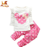 Monkids 2017 New Kids Clothes Girl Baby Long Rabbit Sleeve Cotton Minnie Casual Suits Baby Clothing Retail Children Suits