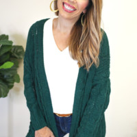 Chenille Cable Knit Cardigan Sweater