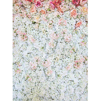 Printed White Flower Wall Bunched Floral Rose Backdrop - 6105