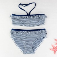 Striped Splicing Girl Bikini Two Pieces Swimming Suit Halter Straps Swimsuits for Baby Girl Lace-up Girls' Swimming Suit Kids