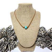 Turquoise natural brown suede leather choker necklace, turquoise knotted genuine leather, turquoise bead, suede leather cord, gift