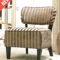 Beige stripped fabric upholstered accent side chair with espresso finish wood accents and legs