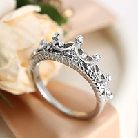 Fashion silver princess ring imperial crown promise love gift F
