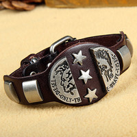 Rock Punk Style Brown Leather with Star Rivet Women Leather Cuff Bracelet, Men Bangle Cuff  X10-BR