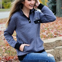 * Simply Southern Quilted Pullover: Steel