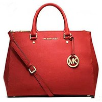 MICHAEL KORS Women Shopping Fashion Leather Satchel Shoulder Bag Crossbody Red