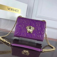 DCCK VERSACE WOMEN'S LEATHER EMBROIDERY INCLINED CHAIN SHOULDER BAG