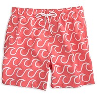 Surfs Up Swim Trunks in Sunset Red by Southern Tide