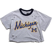 University of Michigan Raised Script Cropped & Distressed Ringer T-Shirt Grey (Women's Large)